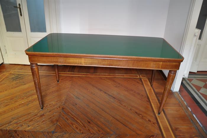 Tavolo In Legno Con Piano In Vetro.Tavolo In Legno Con Piano In Vetro Verde Su Lapulce It Antiquariato