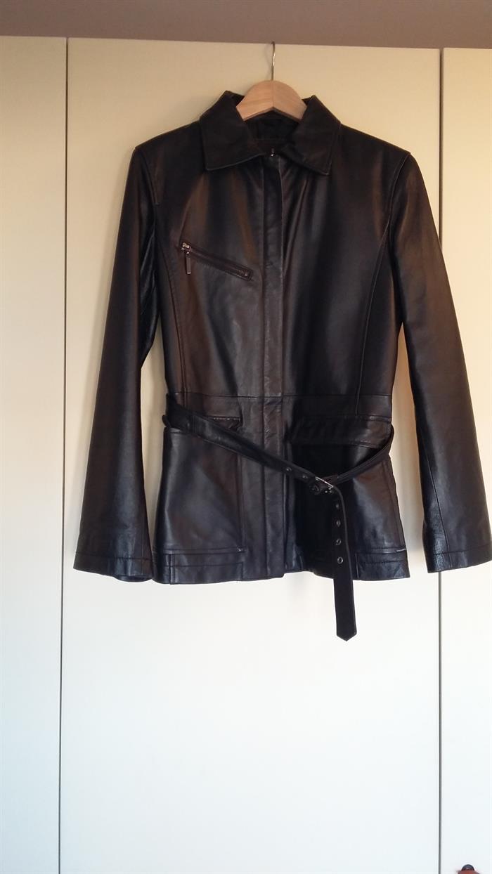 giacca di pelle nera conbipel